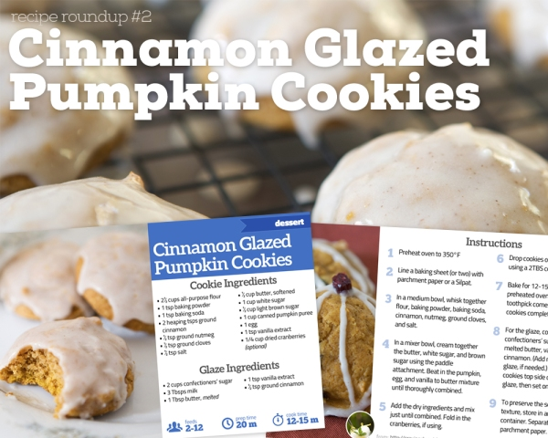 The Craving Chronicles' Cinnamon Glazed Pumpkin Cookies Recipe Cards