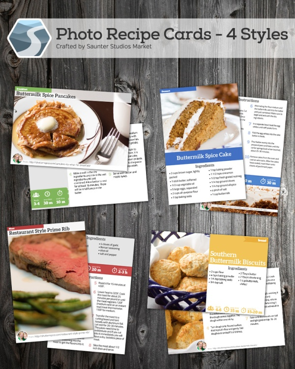 Saunter Studios Printable Recipe Cards