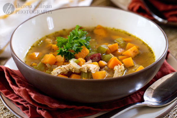 Thanksgiving Soup with Turkey, Sweet Potatoes and Cranberries